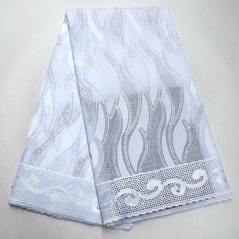 (5 10yards/pc) 2019 de alta qualidade tecido Africano rendas de algodão polonês branco tecido de renda Suíço tanto para o homem e as mulheres se vestem RG453