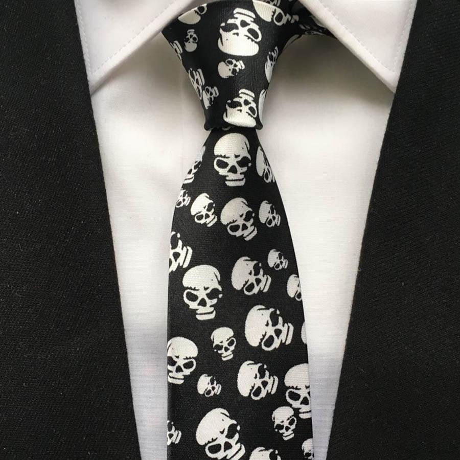 Top Arrival 5cm lazos estrechos de moda caliente para hombre corbata de fiesta Casual negro con calavera escalofriante Gravata para Halloween