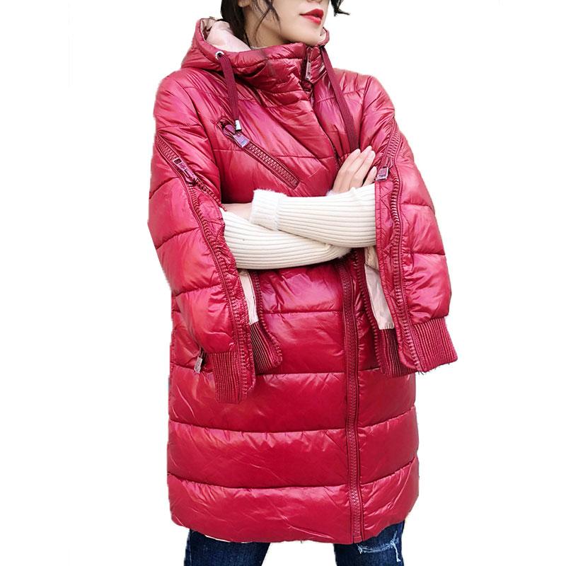 ¡Novedad de 2020! chaqueta europea de invierno para mujer, Parka cálida, chaqueta coreana con capucha y cremallera, abrigo largo delgado de algodón, abrigo grueso impermeable 86