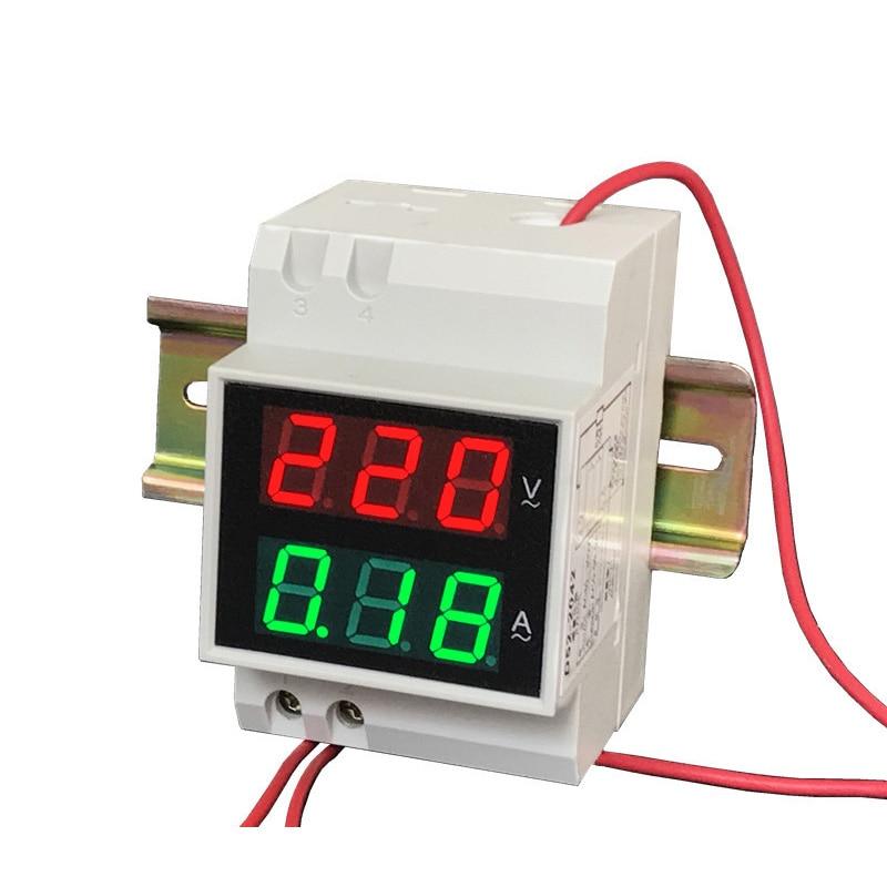 DYKB AC 110V 220V 380V 100A Din-Rail voltímetro LED amperímetro medidor de corriente de voltaje Digital voltaje de doble pantalla