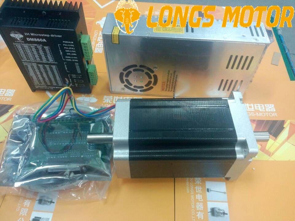 Motor paso a paso 1 eje Nema34 1232ozin 34HS1456B doble eje 5.6A DM860A controlador CNC Router molino grabado alto Torque bajo ruido/Br