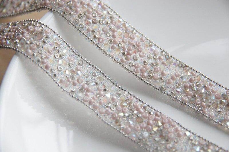 Recorte de encaje con cuentas de diamantes de imitación rosa, cristales de...