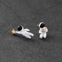 2018 hot korean style fashion lovely cartoon star asymmetric space universe astronaut studs earrings for women jewelry cute gift
