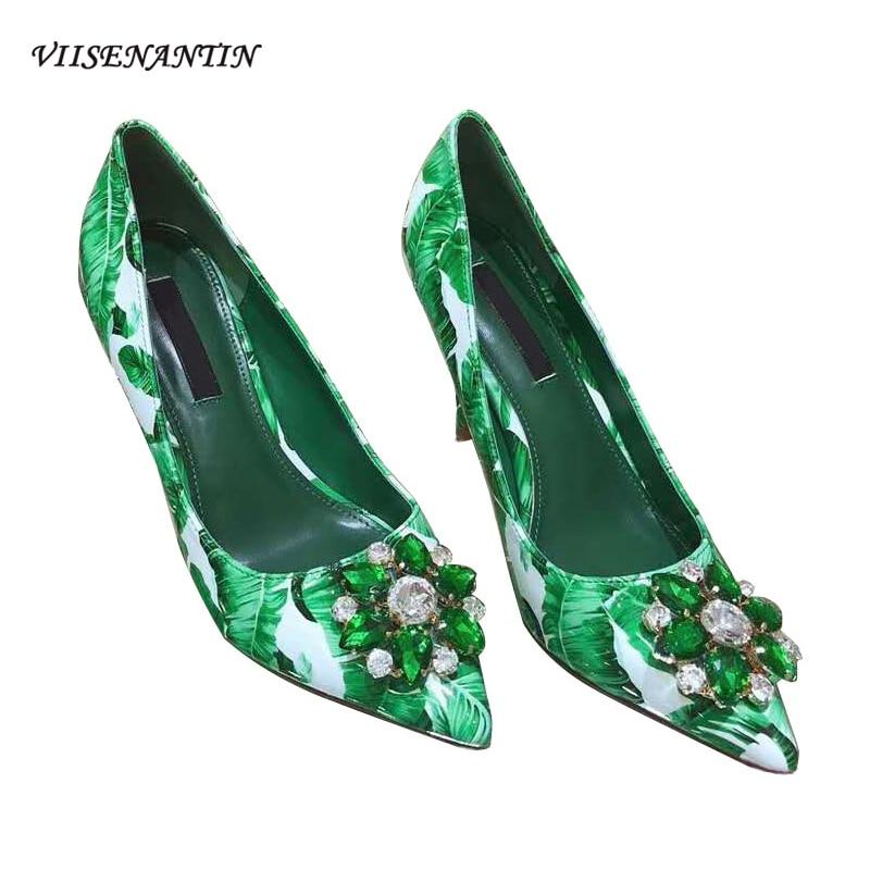 VIISENANTIN lady summer flower printing dress shoes retro slip on pointed toe crystal gem decor high heel party wedding shoe