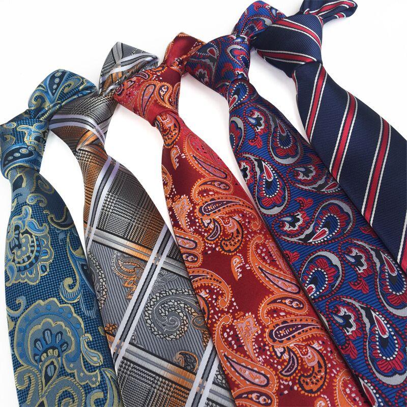 hot paisley tie for mens 100% silk neckties designers fashion men ties 8cm navy and red striped tie wedding недорого