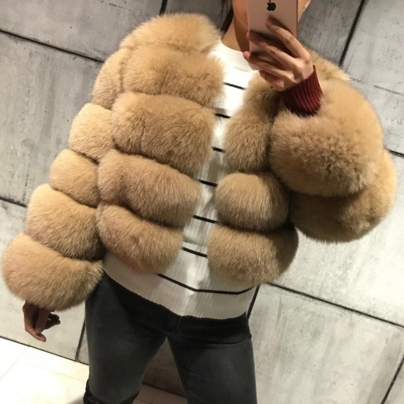 FURSARCAR 2019 New Fashion Natural Real Blue Fox Fur Women Natural Genuine Fur Jackets Coats Female 5 Row Short Outerwear Girls