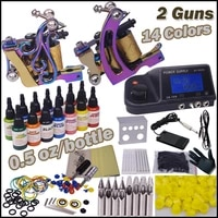 professional body piercing kit 2 top tattoo gun 14 color inks ylt 83