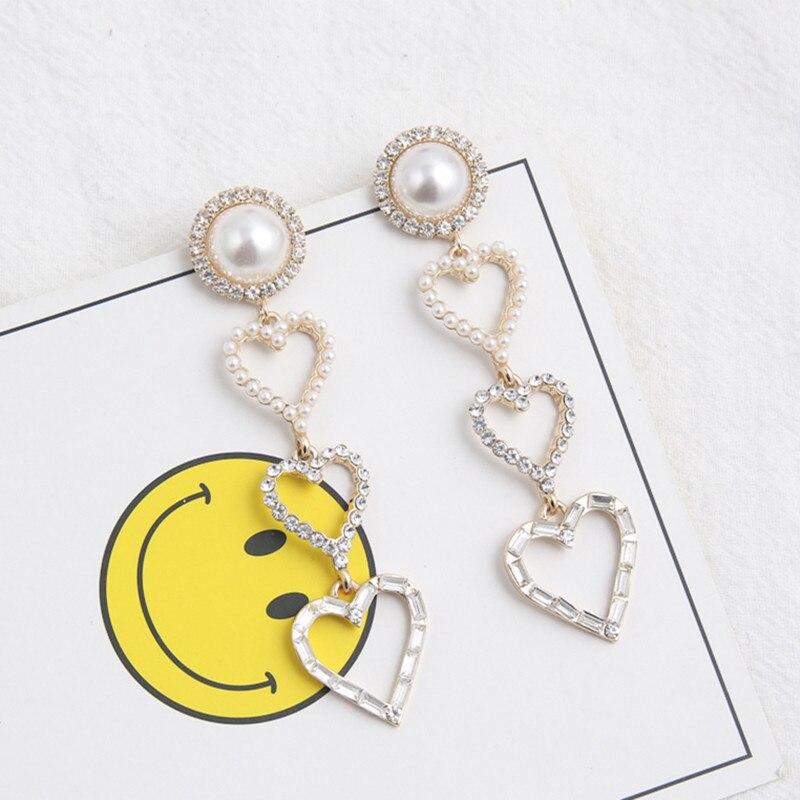 New Hollow Rhinestone Pearl Love Heart Long Drop Dangle Earrings for Women Girls Fashion Korean Jewelry Earring Brincos 6C3005