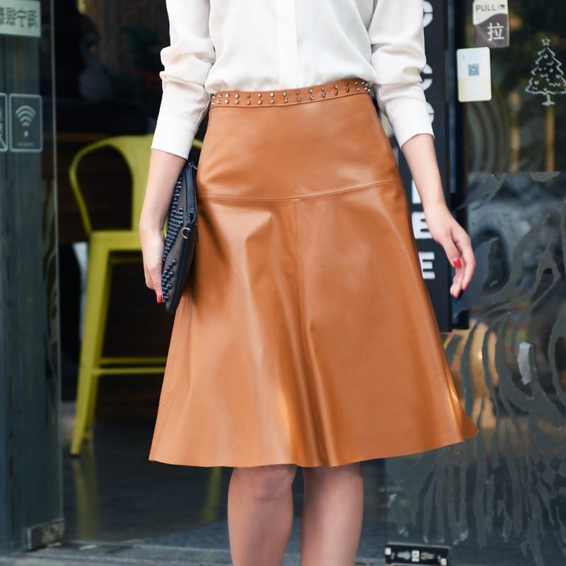 lady genuine leather natural real sheepskin female women skirt knee-length with rivets orange black plus big size xxxl 2xl 3xl