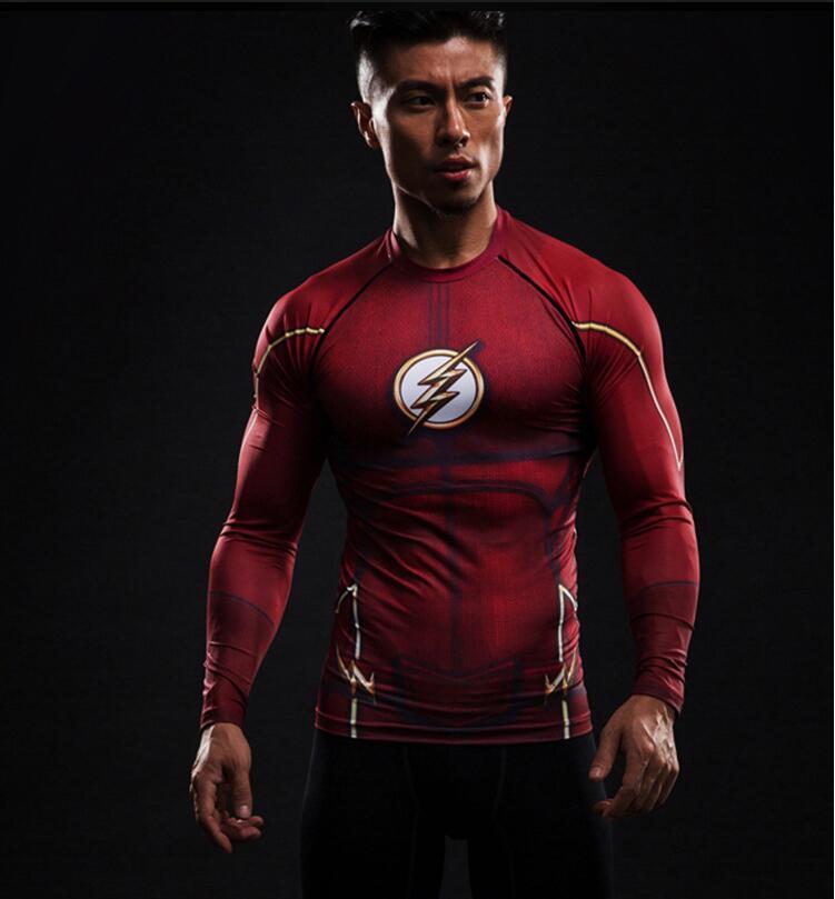 Camiseta de superhéroe de Marvel flash/Capitán América para hombre, camiseta de manga larga informal de fitness para hombre