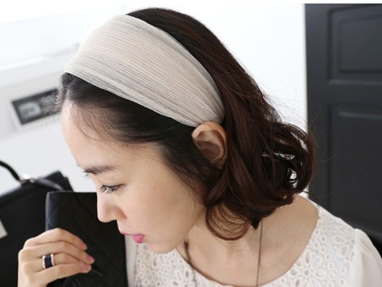 Фото Корейские модные широкие боковые марли Hairbands полосатый Ультра Широкий повязка на