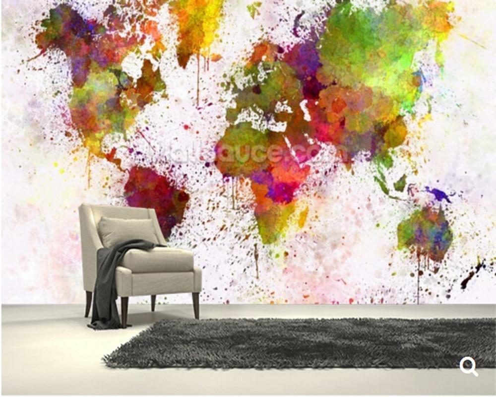 Custom children wallpaper,World Map Colour Splash,3D cartoon for living room bedroom backdrop waterproof wallpaper restaurants
