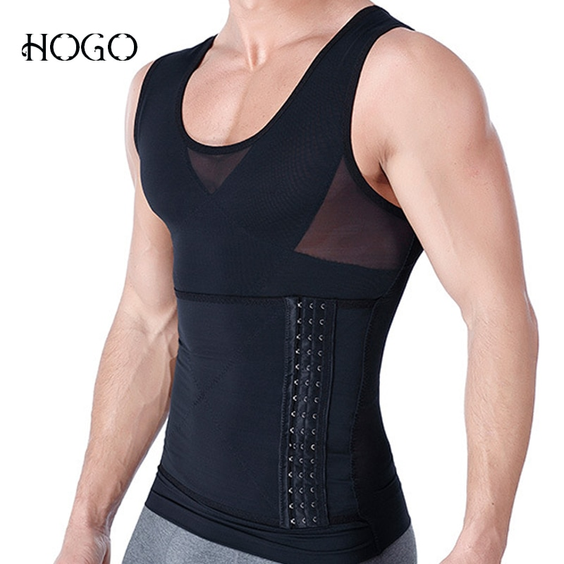 Posture Corrector Men Body Shaping Vest Slimming Boobs Chest Control Belly Abdomen Tummy Shirt Compression Corset Shapers Hook