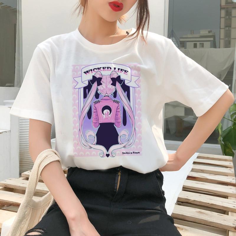 Sailor Mond Sommer Mode T Hemd Frauen Weibliche Harajuku Spaß T-Shirt Nette Katze T-shirt Cartoon Ulzzang Top Tees kawaii kleidung