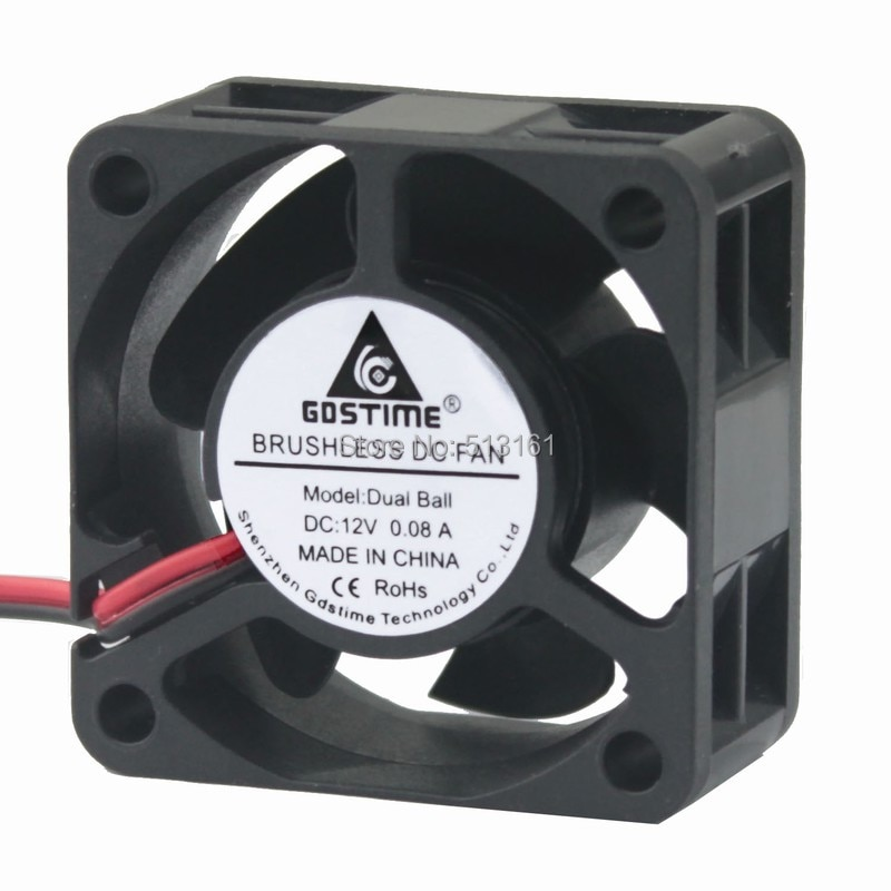 2Pcs Gdstime Cooler 40mm 40x40x20mm 4020 DC 12V 2Pin Ball Bearing Brushless Cooling Fan