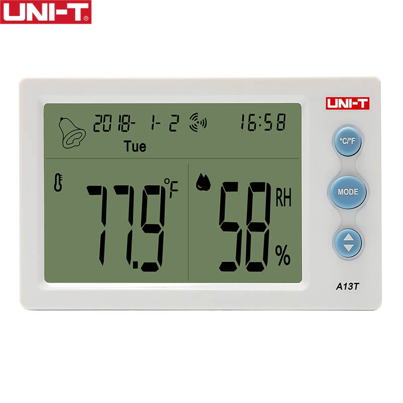 UNI-T A13T Temperature Humidity Meter; Indoor temperature and humidity table, time/date/week/temperature humidity display