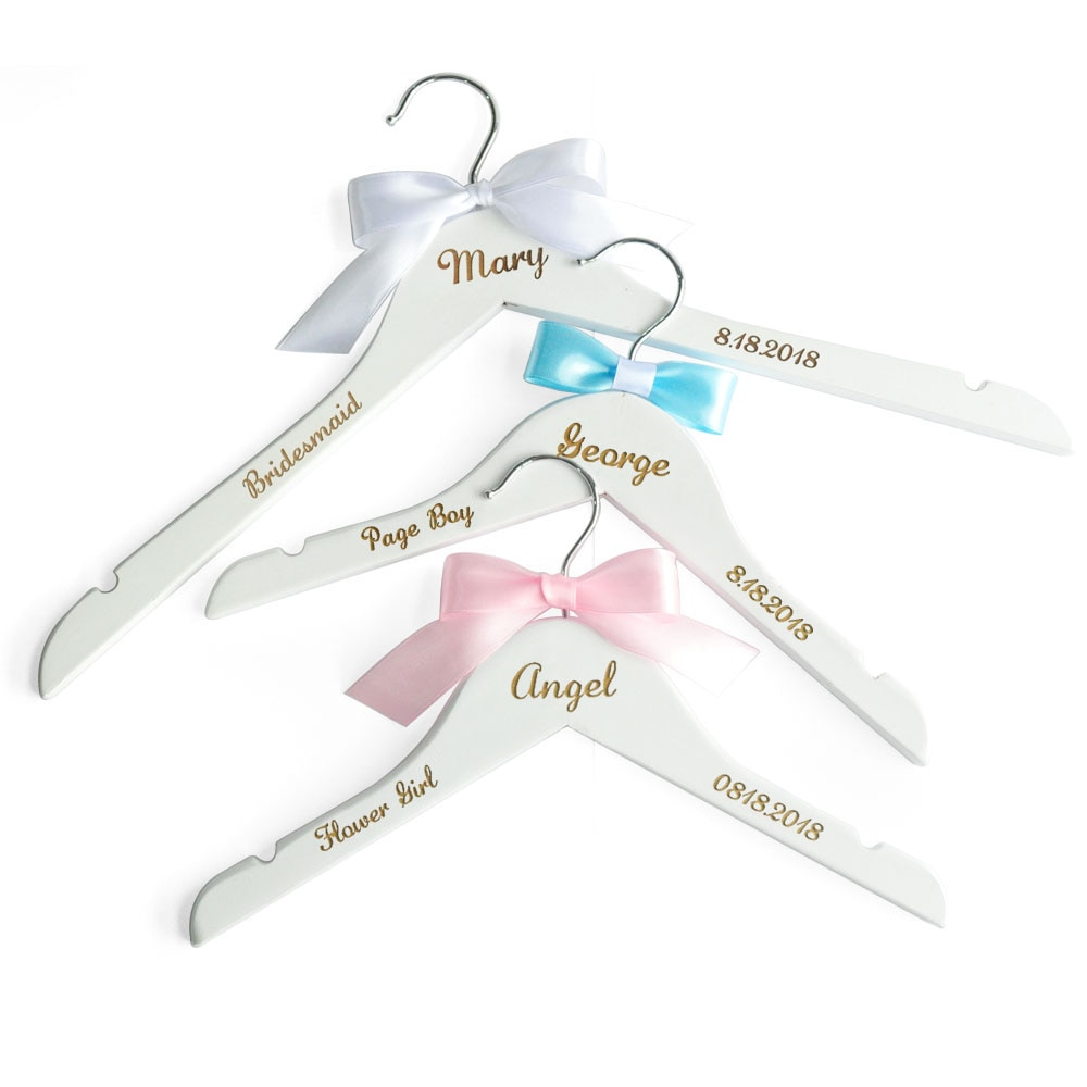 Personalized Wedding Dress Hangers Bridal Party Hangers Flower Girl Page Boy Name Hanger Bridesmaid