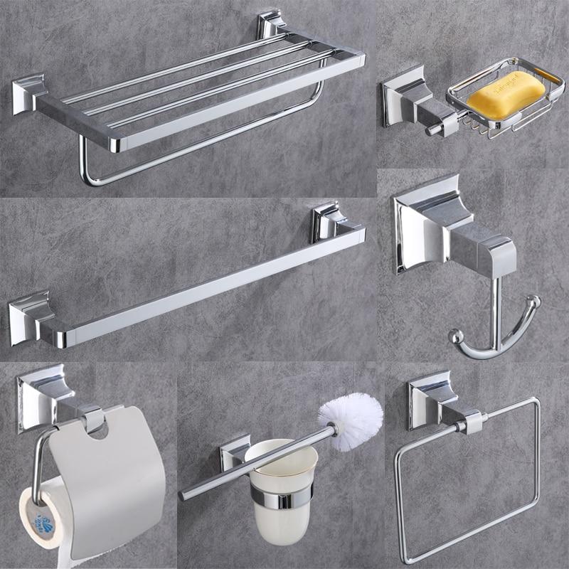 AOBITE Chrome Towel Rack Copper Bathroom Toilet Hardware Pendant Set