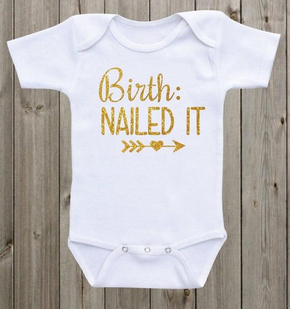 Personalizado nacimiento clavado recién nacido bebé body una pieza traje pelele volver a casa niño camisa cumpleaños regalos