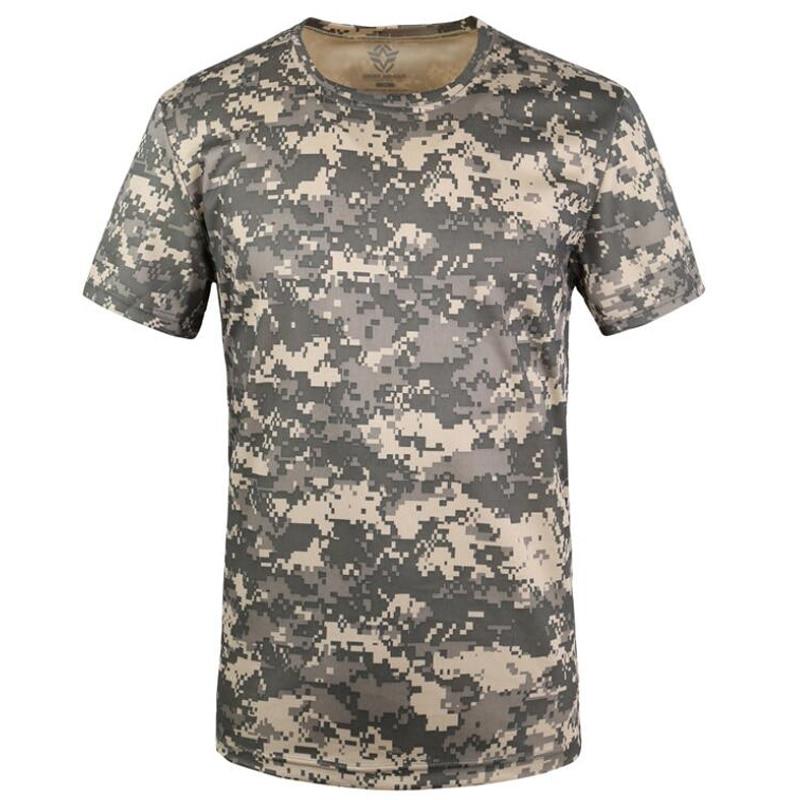Sommer T-Shirt Quick Dry Camouflage O Hals Kurzarm T Hemd männer Casual Freien Taktische Kampf T Shirts Militärischen tops