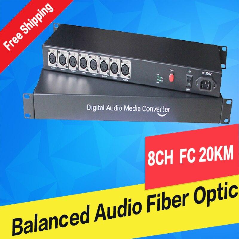 Audio equilibrado de 8 canales a fibra óptica XLR audio equilibrado sobre fibra audio convertidor de medios de fibra Digital transceptor y receptor
