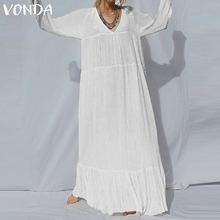 VONDA Plus Size Bohemian Maxi Dress Women 2020 Spring Vintage Casual Loose V Neck Solid Vestido Black White Dress Beach  S-5XL