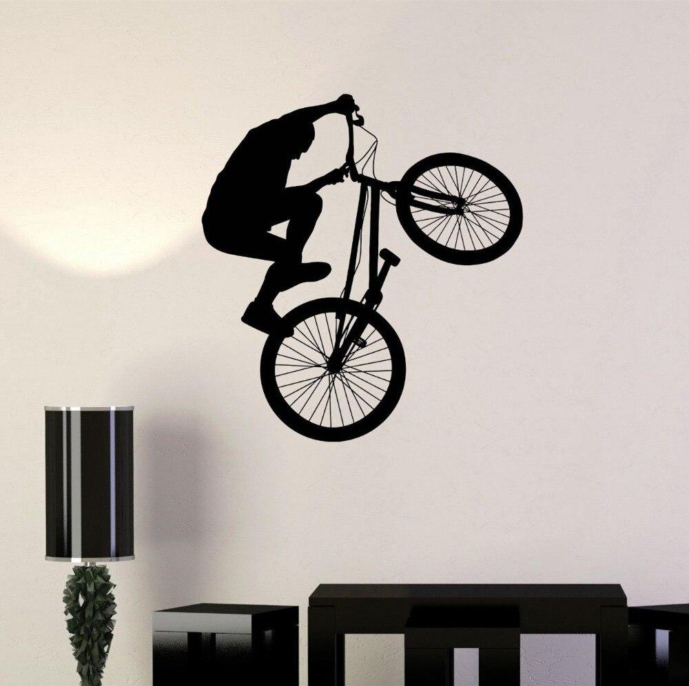 Bicicleta ciclista BMX deporte extremo pegatina de pared vinilo decoración del hogar Mural KW-319