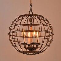 loft industrial American rough wrought iron globe hemp rope pendant light D46CM
