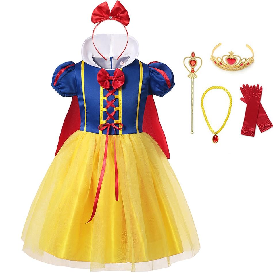 м мадера долина эдельвейсов и день рождения принцессы Детское платье Белоснежки для девочек костюм принцессы нарядные платья для девочек на день рождения, Хэллоуин, маскарадный костюм + накидка