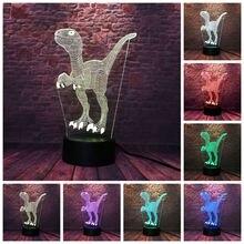Flash Park jurajski smok zwierząt rysunek 3D Illusion lampa Led 7 kolory zmień Nightlight Tyrannosaurus Model Light-up zabawki