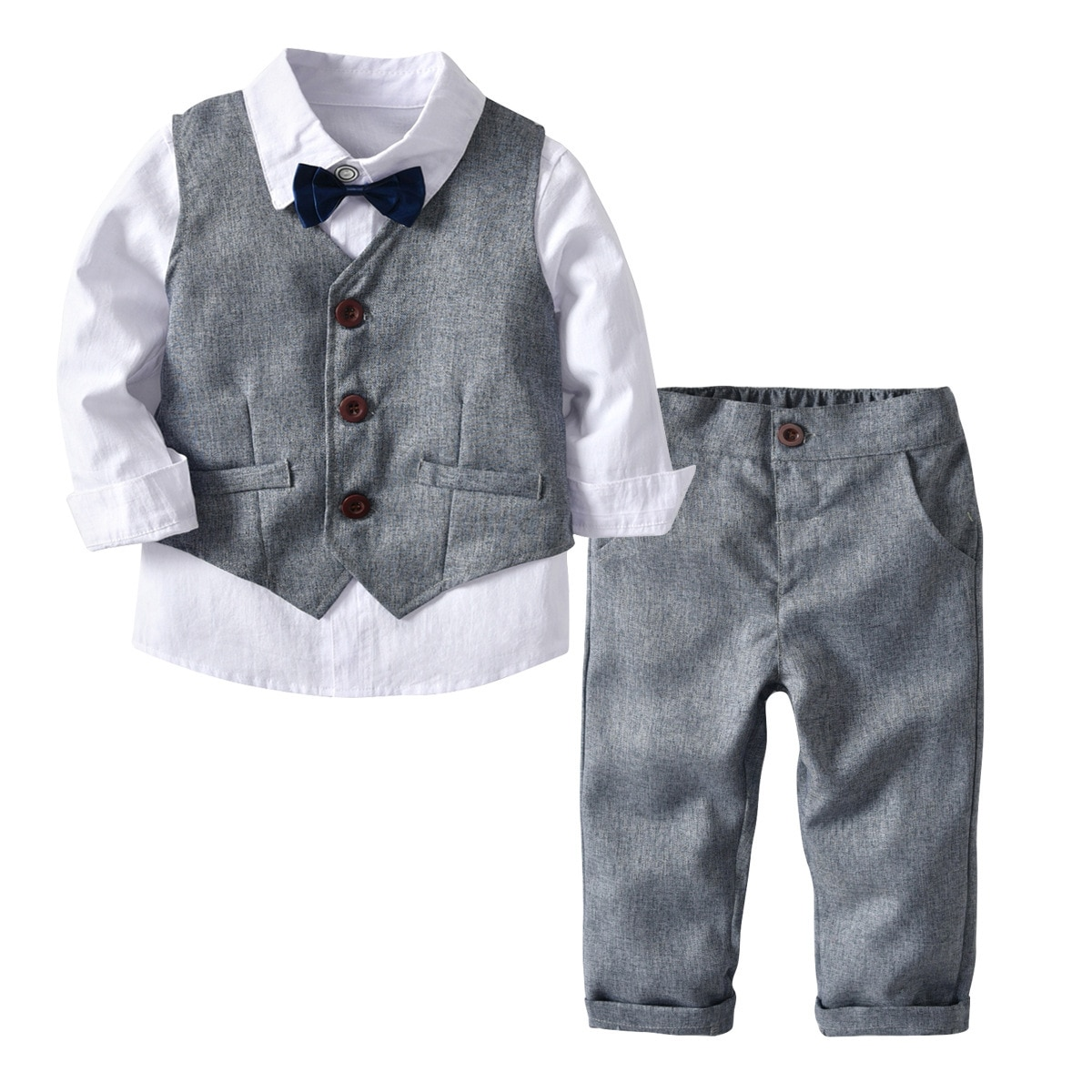 Niños 4 piezas traje camisa de moda con chaleco Arco y pantalones trajes niños conjuntos traje de algodón infantil ropa de bebé niño