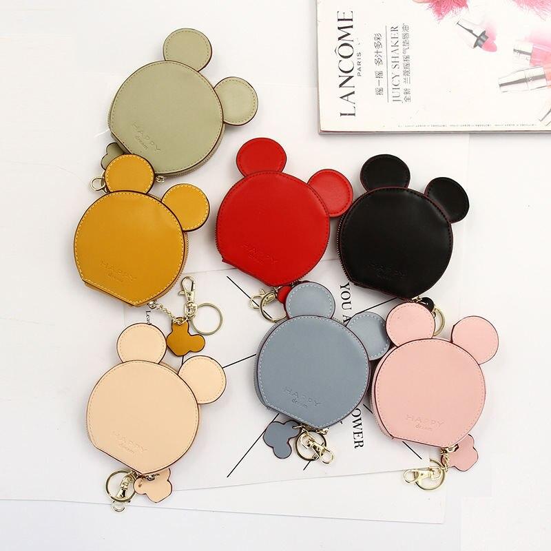 Monedero de dibujos animados de Mickey Mouse de Disney, paquete de tarjeta bonita, Cartera de Minnie, mini bolso colgante para niños y estudiantes, bolsa de almacenamiento de color sólido