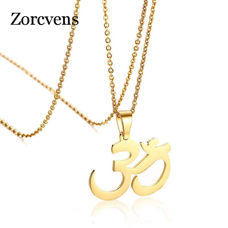 ZORCVENS AUM/colgante collar con OM Cadena de acero inoxidable de Color dorado para mujeres y niñas, joyería