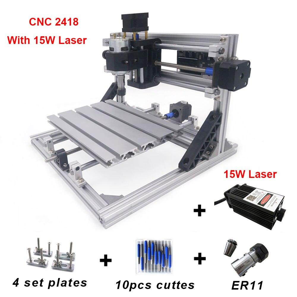 Entry Level DIY Mimi CNC 2418 Laser Engraver 15w Wood Router GRBL ER11 PCB Metal Woods Laser Cut Russia Japan Korea
