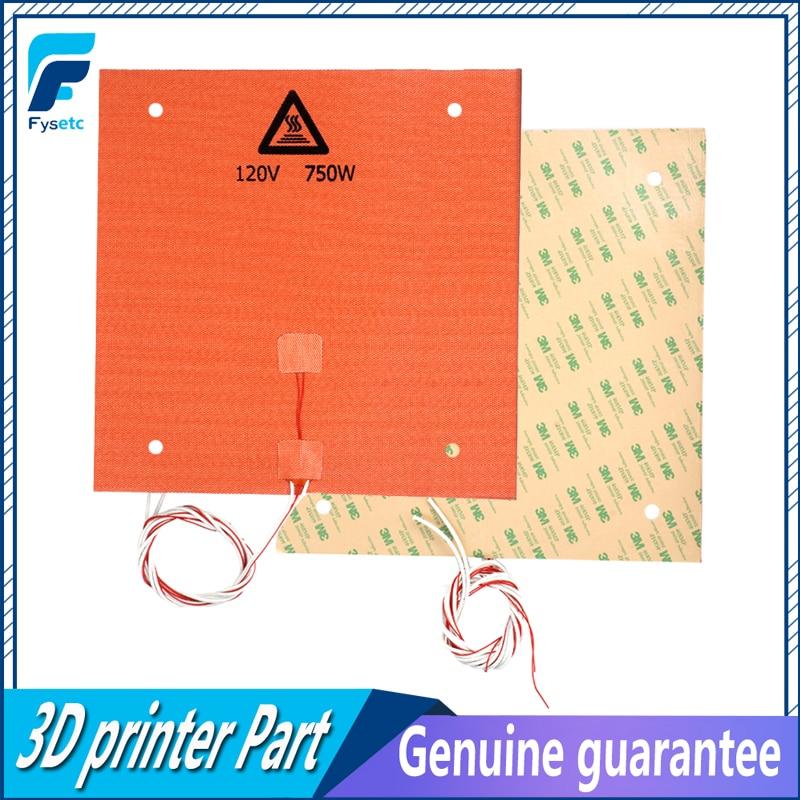 Almofada de Aquecedor de Silicone Cama de Impressora 750w para Cr-10 3d com Furos de Parafuso Adesivo Apoio & Sensor 1pc 3d 310x310mm 120v 3m