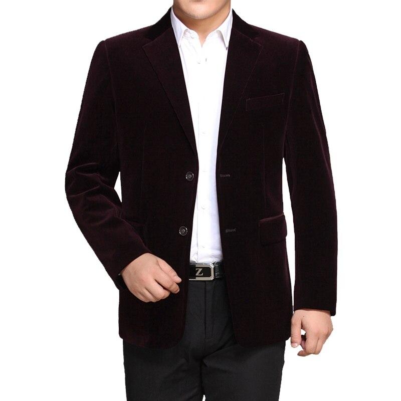 WAEOLSA Men Striped Velvet Blazers Elegant Plain Color Suit Coats Man Wool Blazer Hombre Corduroy Jackets Red Navy Blue