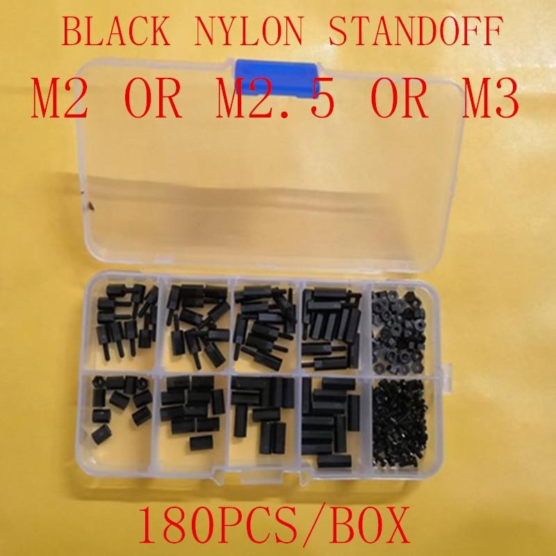 180 unids/lote M2 m2.5 M3 * 6/8/10/12 F-F/M-F negro espacio tornillo de Nylon Pilar separador estanco Kit surtido