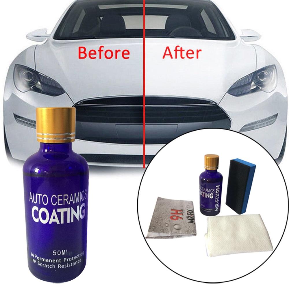 Capa de cerámica liquida de oxidación para coche 9H de 50ML, súper hidrofóbico conjunto de revestimiento de vidrio, hace que el coche sea nuevo #8