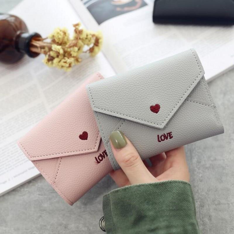 New Women Wallets Purse Mini Wallet Love Heart-shaped Embroidery Line Lychee Pattern Multifunctional 3 Fold Small
