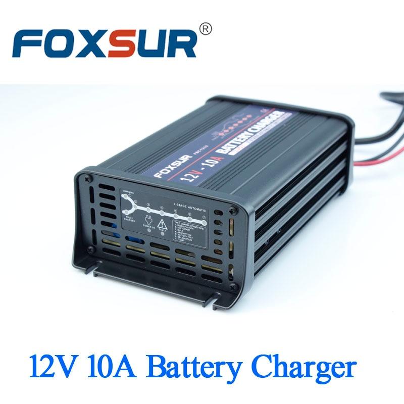 Автомобильное зарядное устройство FOXSUR 12 в 10 А, 7-ступенчатое умное свинцово-Кислотное зарядное устройство, алюминиевый импульсное зарядное ...