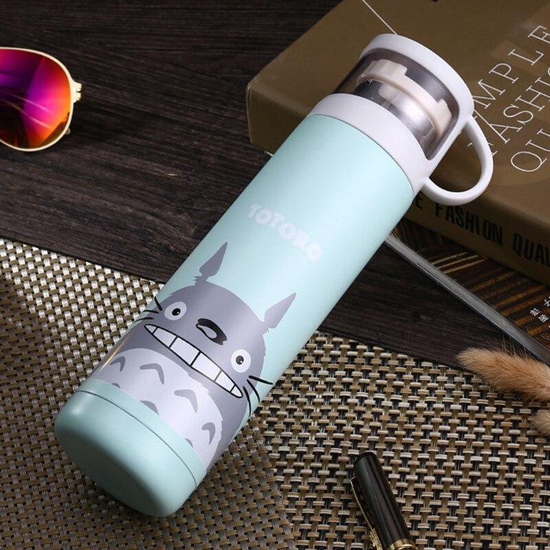 Botella térmica de acero inoxidable Baymax Tonari sin Totoro para niños frasco de termo al vacío de invierno mi botella Termos tazas de Cat Mug 500ml