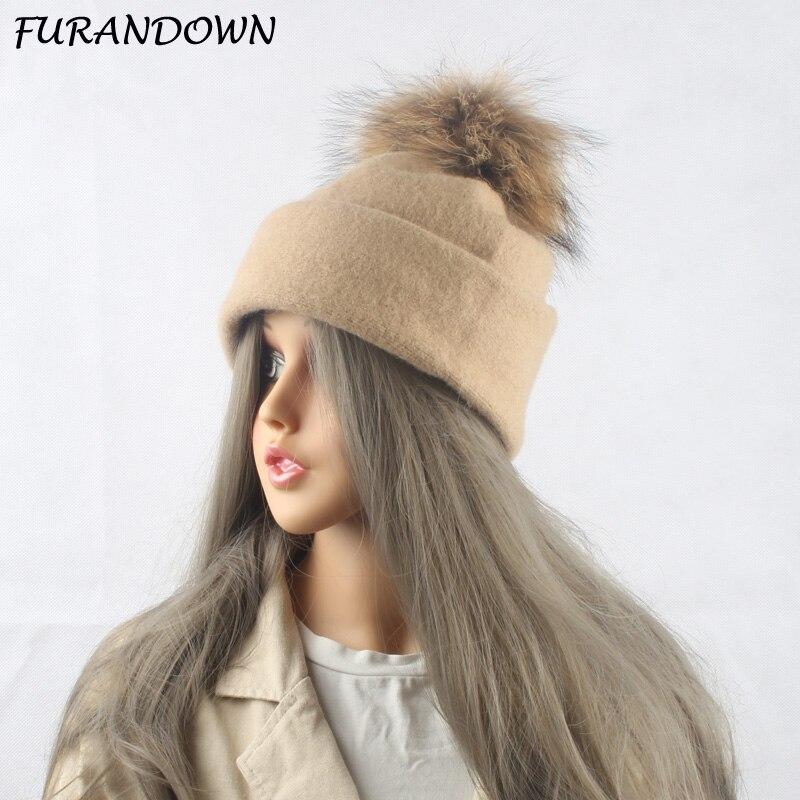 2019 100% lana gorro de pompón invierno sombreros para las mujeres otoño sombrero Casual sombrero de piel Real Gorro con pompón
