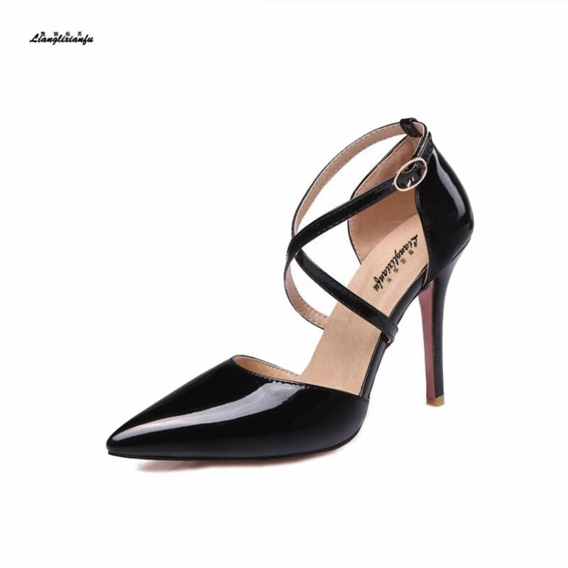 Nuevo estilo Plus: 31 32-47 Cruz frenium Mujer Zapatos 10cm tacón Mujer...