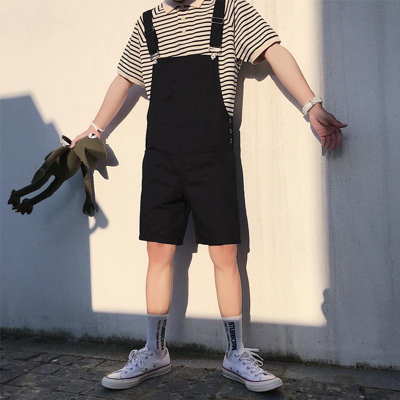 Summer Korean Fashion Short Bib Pants Trend Wild Mens Loose Jumpsuits Youthful Street Style Overalls Large Size XXL 3XL