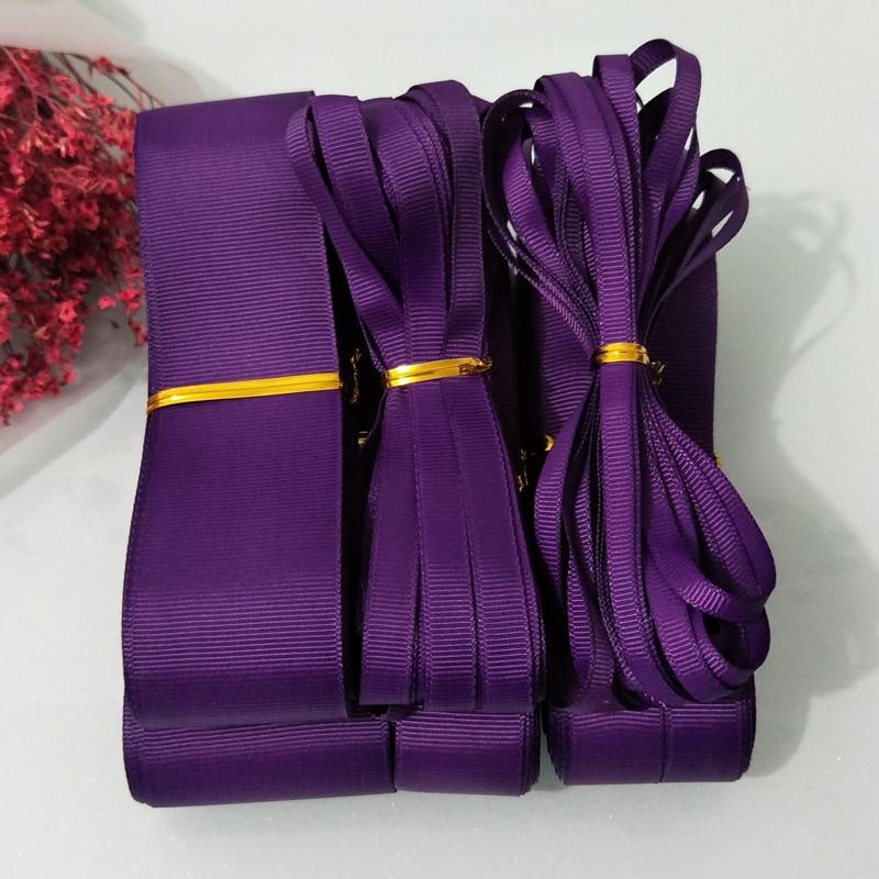 10 yardas (9 metros) 6mm 9mm 15mm 19mm 25mm 38mm 50mm ancho púrpura oscuro 100% cintas de otomán de Color sólido de poliéster