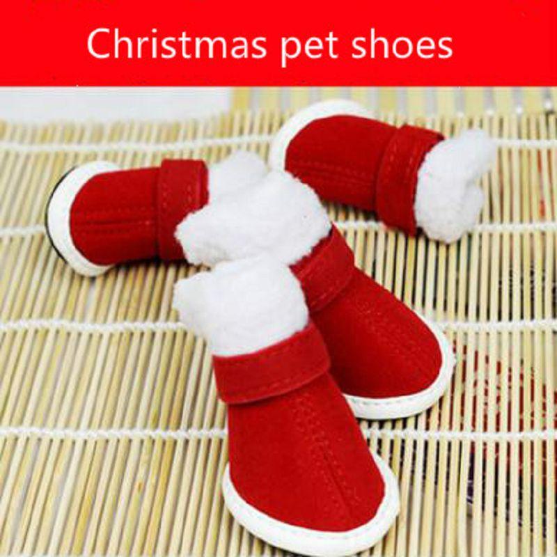 Sapatos Vermelhos do natal do cão botas cão de Pelúcia sapato zapatos parágrafos perros parágrafos cachorro honden schoenen sapatos parágrafo cachorro