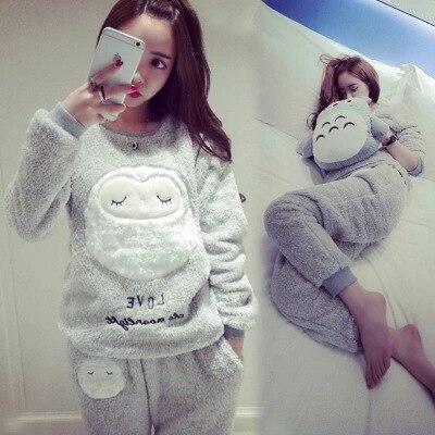 Pijama de mujer de franela gruesa cálida pijama de invierno conjunto de manga larga pantalones completos de dos piezas pijamas de animales de dibujos animados de búho