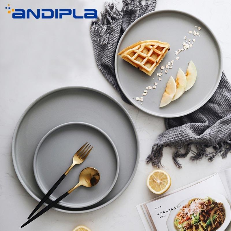 Creative Brief Nordic Style Ceramic Dinner Plate Tableware Round Western Plate Fruit Cake Dessert Dish Breakfast Tray Dinnerware