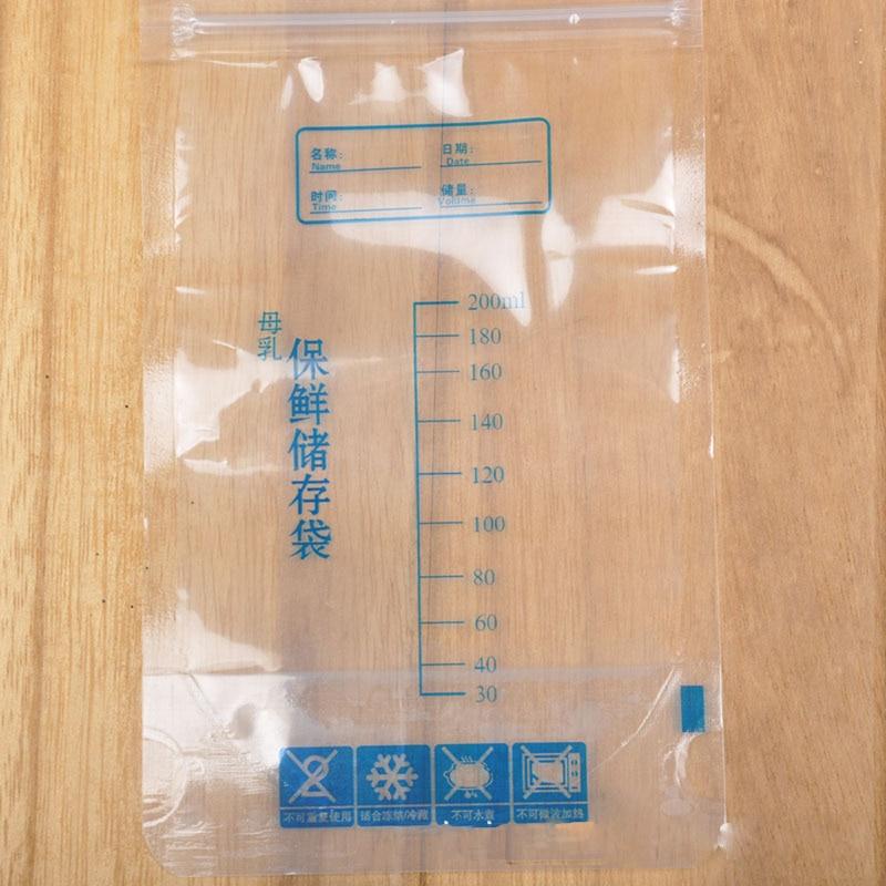 Bolsa de almacenamiento de alimentos para bebé, bolsa para leche de pecho 200 ml, bolsas de congelador para niños recién nacidos, PBA gratis, seguro T0138