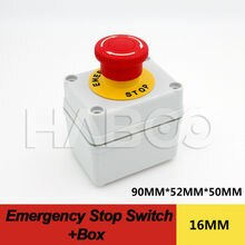 HABOO-emballage A16-F1R1 interrupteur darrêt durgence 1NO + 1NC, 1 pièce, avec boîte dia.16mm 5A, 250V